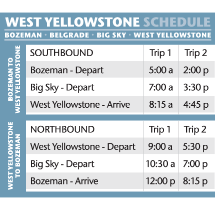 West Yellowstone Schedule